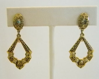 Damascene Dangle Clip Earrings with Smokey Gray Rhinestones
