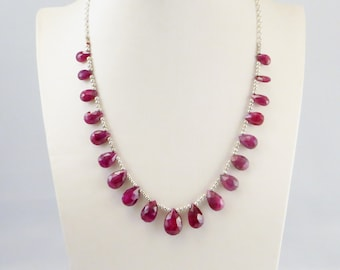Genuine Hand Faceted Pear Drops natural  Ruby Gemstone Silver Necklace.