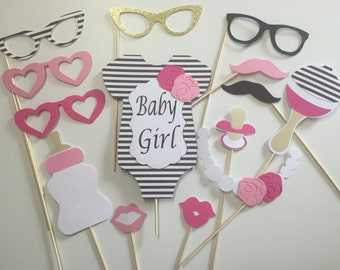 Kate Spade Baby Shower Props /Black and White Centerpiece/ Floral Props