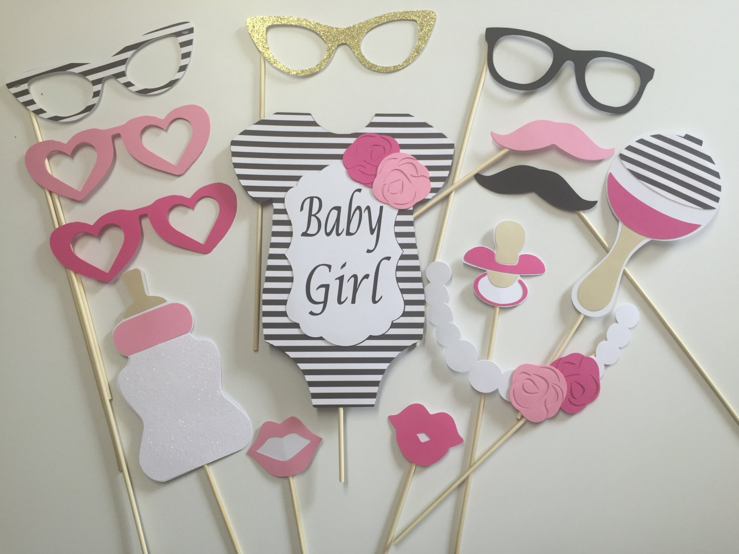 kate spade baby shower props black and white centerpiece