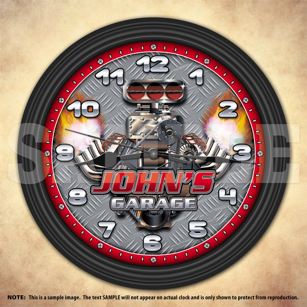 Man Cave Garage Clocks : Hot rod man cave garage personalized mechanic wall clock