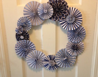 Blue and White Pleated Paper Rosette Wreath