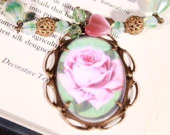 Rose Cabochon Convertable Necklace/ Bracelets