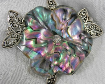 Vintage Silvertone Thermoset Flower Brooch Pin  Rhinestones Abalone