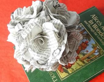 6 x Alice In Wonderland Book Page Paper Flower Roses - handmade flowers