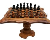 Christmas gift - Christmas present - Olive wood chess board 10 Inch with stand 6 Inch