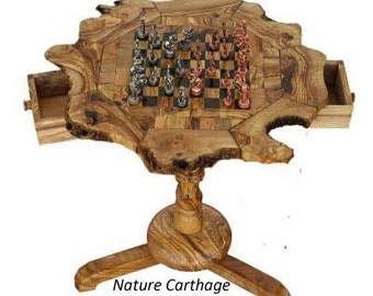 Birthday gift / Olive wood rustic chess set board 20 Inch with stand 23 Inch - Metal pieces  /  Original present