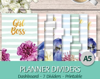 A5 - EN - Printable Planner 7 Dividers and Dashboard - Girl Boss, Floral, Gold, Watercolor, Quotes - Printable Planner Inserts, PDF