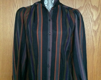 80s Lady Arrow Striped Blouse w/Puff Sleeves - Secretary, Steam Punk, Victorian