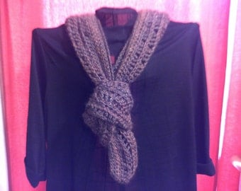 Crocheted Brown Scarf
