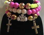 Easter beaded bracelet set of 3