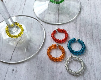 Rainbow wine charms, glass bead wine charm, colorful wine charm