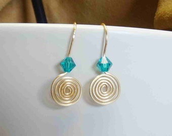 Non tarnish Gold Wire Earrings with teal swarovski crystals