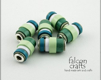 handmade paper beads,metal bead cores,tube beads,green white,blue,bands of colour,beading supplies,crafters,tube shaped paper beads