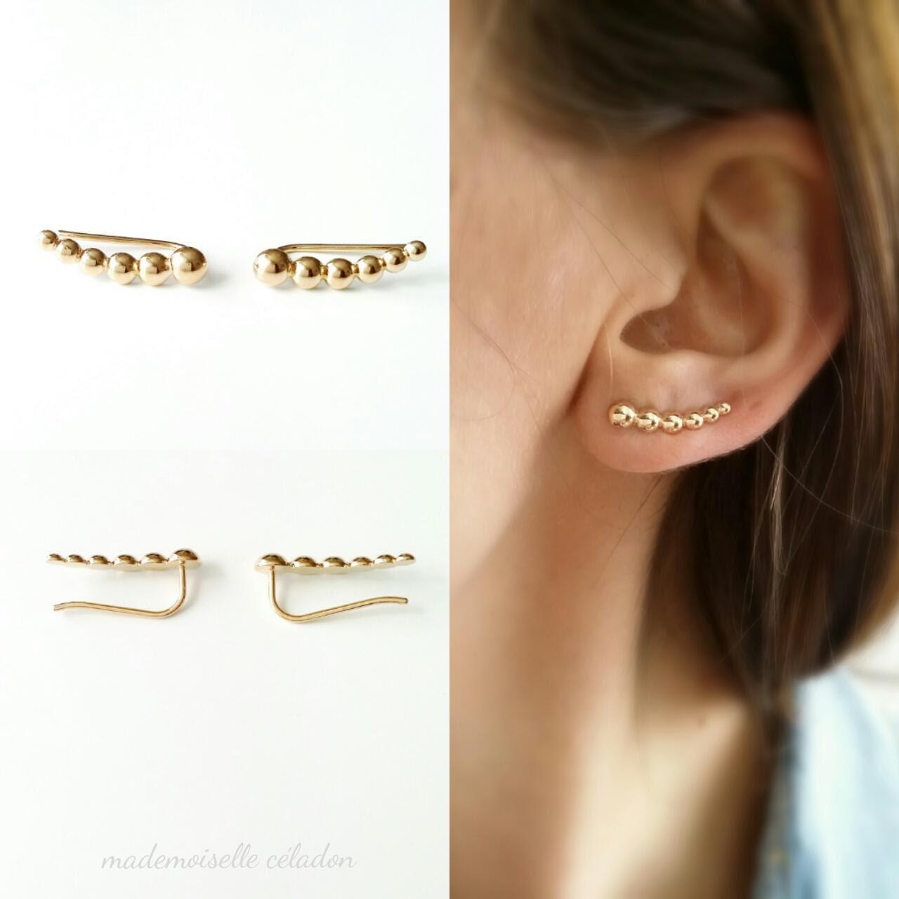 ear cuff boucles d 39 oreilles montantes plaqu or 18 k. Black Bedroom Furniture Sets. Home Design Ideas