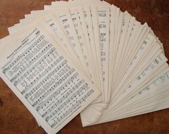Vintage Hymnal Pages - Destash of 50 Vintage Music Page Sheets