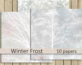 digital paper pack Winter Frost Christmas scrapbook paper printable 12 x 12 frosty winter trees instant download