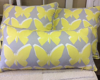 Yellow and Gray Butterfly Print Pillow Cover W/Zipper, 12x24 Pillow Cover
