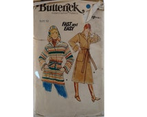 Vintage 70's Butterick Sewing Pattern 5658 Wool Wrap Belted Hooded Coat Short and Long Length