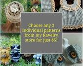 3 Pack of Digital Crochet Patterns