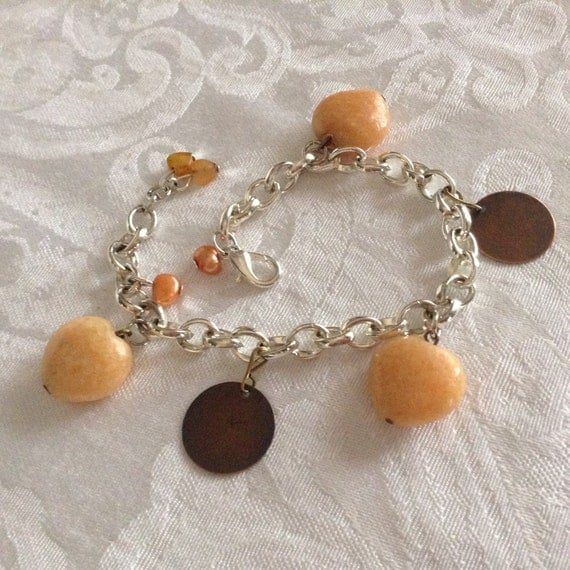 Calcite Charm Bracelet ..sterling silver plate chain, fresh water pearls and hearts bracelet