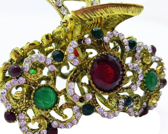 New Antique Gold With Ruby Red, Emerald Green CZ Crystal & Sapphire  Rhinestones 1 -1/2'' Hair Claw Clip