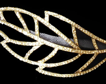 New Gold 5'' Leaf With Amber Crystal Metal Head Band