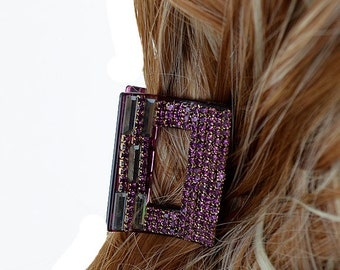 New Wine  Square With Rhinestone 2 1/2'' Hair Claw Clip