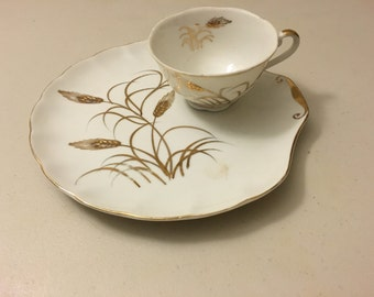 Vintage Gold Wheat Tea Cup with Luncheon Plate
