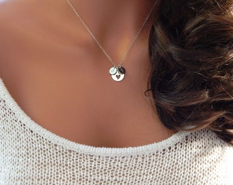 Initial Necklace, Mother's Necklace, Personalized Initial, Heart Charm with Initial Discs • Gift for Her [CUC8] [18-211]