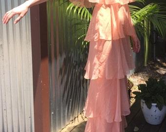 Vintage 20s 30s Peach Parisian Chiffon Flutter Sleeve Ruffle Maxi Dress