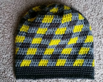 WINTER CLEARANCE 50% OFF - Plaid Slouch Beanie - Crochet Slouch Beanie - Crochet Beanie