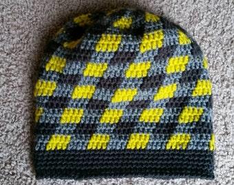 Plaid Slouch Beanie - Crochet Slouch Beanie - Crochet Beanie