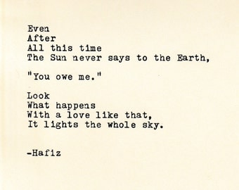 Hafiz Quote Made On Typewriter,Typewriter Quote, Famous Quotes, Wedding  Gift, Personalized