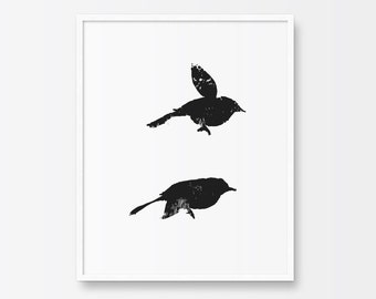 Bird Print, Printable Art, Black and White Print, Illustration Print, Minimalist Art, Birds Illustration, Home Decor Wall Art, Black Ink