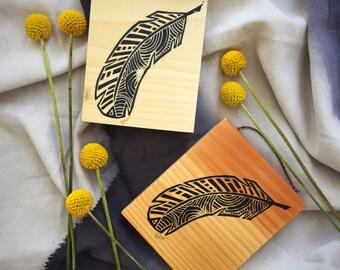 Feather Print - Linocut in Wood - Feather Art - Geometric Art -Print on Wood
