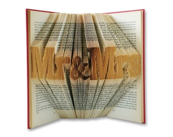 Mr and Mrs wedding signs - Mr and Mrs table sign - Mr and Mrs - Folded Book sculpture - Wedding couple gift - Book themed wedding - 001