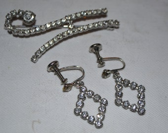 Vintage Rhinestone Brooch & Earring Set