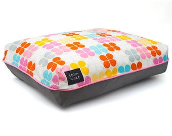 SAMPLE SALE - Petal Dog Bed – Sherbet -Size Small | Removable Pet Bed Cover with or without Pillow Insert | Final Sale Item
