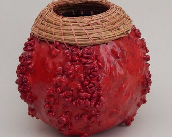 Gourd art, wart covered gourd, warty gourd, pine needle weaving, pine needles, waxed linen stitching, coiled pine needles, red painted gourd