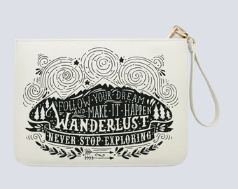 Follow your dream and make it happens - Wanderlust - Quotes  - Women handbag with luxury gold zipper |DHG-038-Perfcase