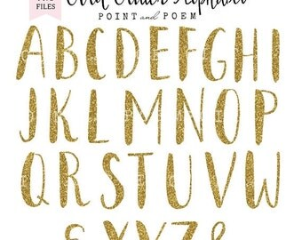 50% OFF SALE Gold Glitter Alphabet Clip arts, Letters Cliparts, Hand Painted Glitter letters, scrapbooking