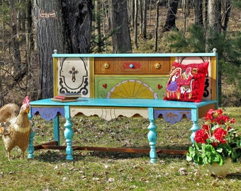 SOLD*****Painted bench, repurposed bench, buffet to bench, santa fe bench,