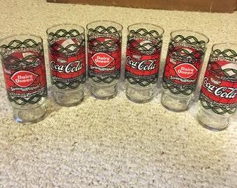 Set of 6 Dairy Queen Coca-Cola Glasses