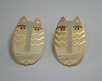 Vintage Laurel Burch Designer Signed Enamel Native Cats, Cat Earrings