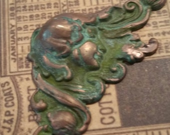verdigris copper brass art nouveau flourish 2 pc