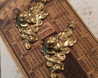 RAW brass art nouveau flourish 2 pc