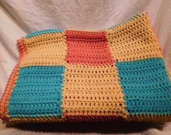 Afghan Lap Blanket Turquoise Pink Yellow