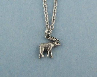 Moose Charm Necklace - Moose Jewelry Necklace - Moose Chain Necklace -  Moose Lovers- Moose Watcher - Maine Moose - Moose Gift from Maine