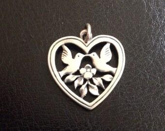James Avery heart Retired 2 love birds heart .925 sterling silver